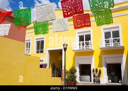 Mercado De Artesanias in Plaza del Sol, San Miguel City, Cozumel Island, Quintana Roo, Mexico, North America - Stock Photo