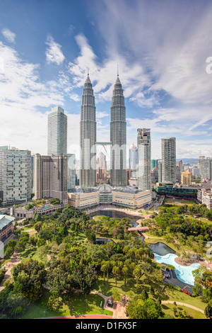City centre including the KLCC park convention and shopping centre, Petronas Towers, Kuala Lumpur, Malaysia - Stock Photo