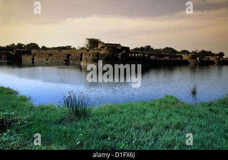 The broad moat surrounding the quadrangular Vellore fort in Tamil Nadu state India - Stock Photo