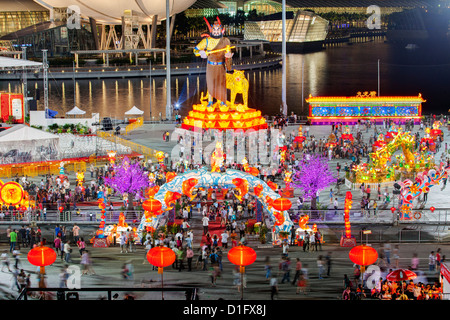 River Hongbao decorations for Chinese New Year celebrations at Marina Bay, Singapore, Southeast Asia, Asia - Stock Photo