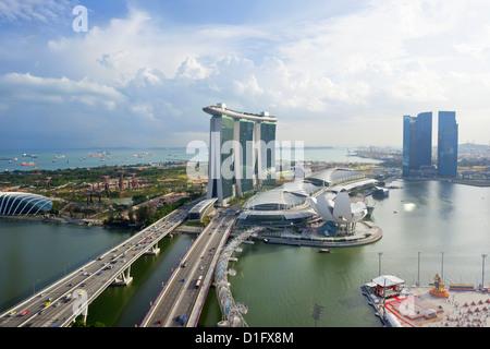 The Helix Bridge and Marina Bay Sands Singapore, Marina Bay, Singapore, Southeast Asia, Asia - Stock Photo
