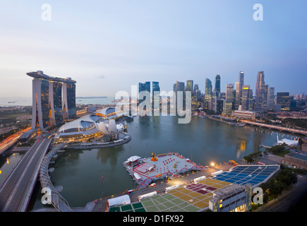 The Helix Bridge and Marina Bay Sands, elevated view over  Singapore, Marina Bay, Singapore, Southeast Asia, Asia - Stock Photo
