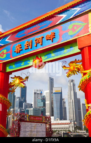 City skyline and Financial district, Singapore, Southeast Asia, Asia - Stock Photo