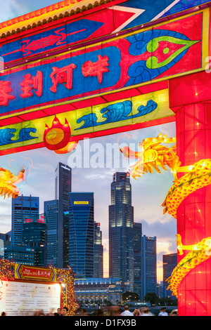 City Financial skyline, River Hongbao decorations for Chinese New Year celebrations at Marina Bay, Singapore, Southeast - Stock Photo