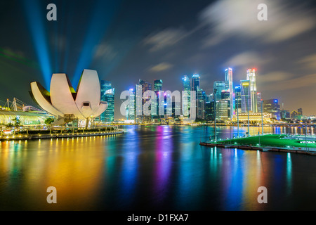 Art Science Museum and city skyline from Marina Bay, Singapore, Southeast Asia, Asia - Stock Photo