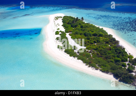 Aerial view of a desert  island, Maldives, Indian Ocean, Asia - Stock Photo