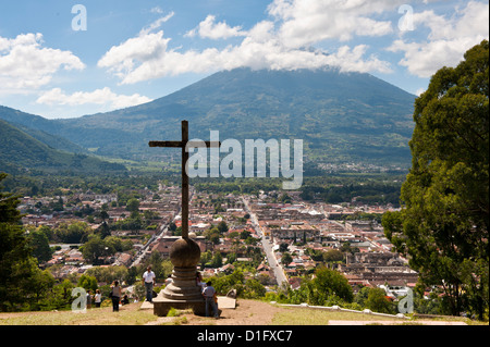 View of Antigua from Cross on the Hill Park, UNESCO World Heritage Site, Guatemala, Central America - Stock Photo