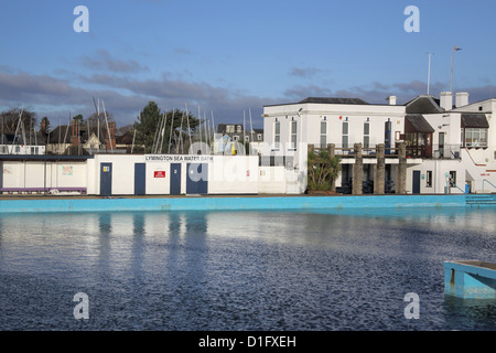 the sea water pool built in 1833 in Lymington on the hampshire coast - Stock Photo