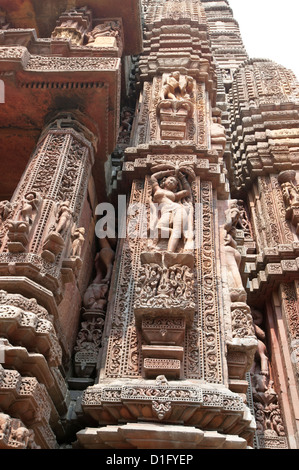 Carving of woman on the vimana of the Rajarani temple, known as the love temple, dedicated to Lord Shiva, Bhubaneshwar, - Stock Photo