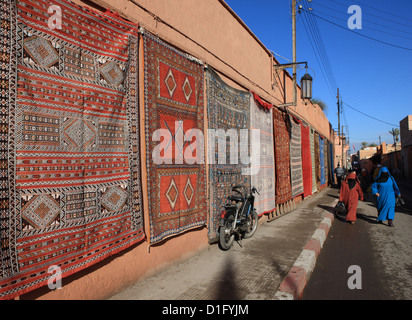 Carpets for sale in the street, Marrakech, Morocco, North Africa, Africa - Stock Photo