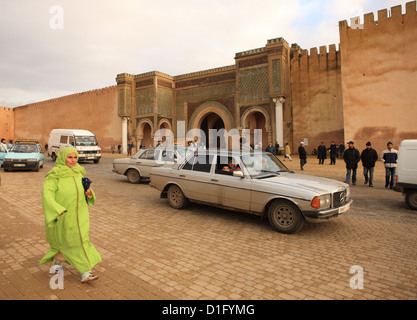 Place el Hedim, Bab Mansour, Meknes, UNESCO World Heritage Site, Morocco, North Africa, Africa - Stock Photo