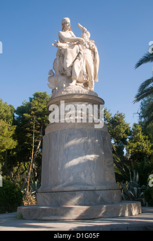 Statue of Lord Byron (who died in Greece) by Chapu and Falguiere National Gardens, Athens, Greece - Stock Photo