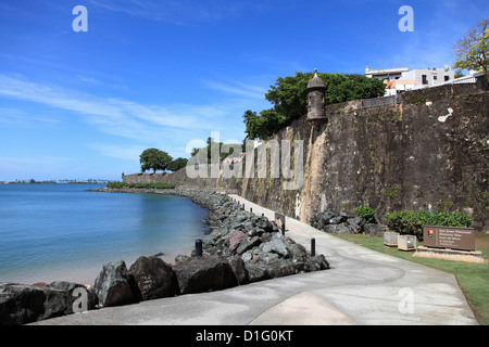 Old City Wall, Old San Juan, San Juan, Puerto Rico, West Indies, Caribbean, United States of America, Central America - Stock Photo