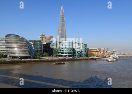 South Bank with City Hall, Shard London Bridge and More London buildings, London, England, United Kingdom, Europe - Stock Photo