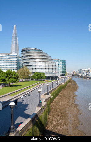 South Bank with City Hall, Shard London Bridge and More London buildings, London, England, United Kingdom, Europe - Stock Photo