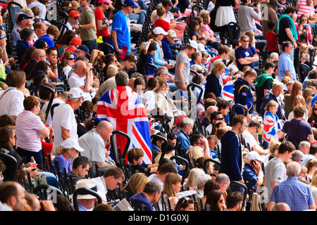 Crowd of British spectators with Union flags in a sports arena, London, England, United Kingdom, Europe - Stock Photo