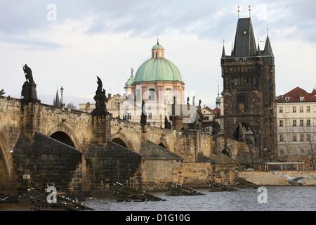 Charles bridge, UNESCO World Heritage Site, and River Vltava, Prague, Czech Republic, Europe - Stock Photo