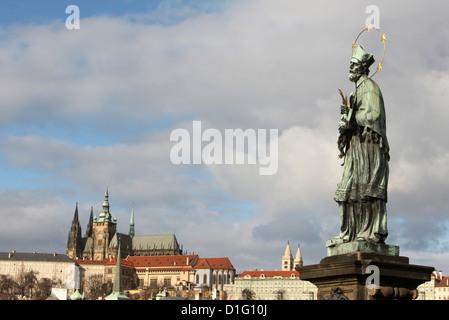 John of Nepomuk Statue on Charles bridge, UNESCO World Heritage Site, Prague, Czech Republic, Europe - Stock Photo