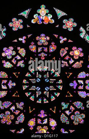 St. Vitus's Cathedral rose window, Prague, Czech Republic, Europe - Stock Photo