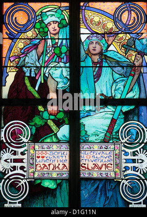 St. Vitus's Cathedral. stained glass of St. Cyril and Methodius by Alfons Mucha, Prague, Czech Republic, Europe - Stock Photo