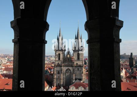 Tyn Church on Old Town Square, Prague, Czech Republic, Europe - Stock Photo