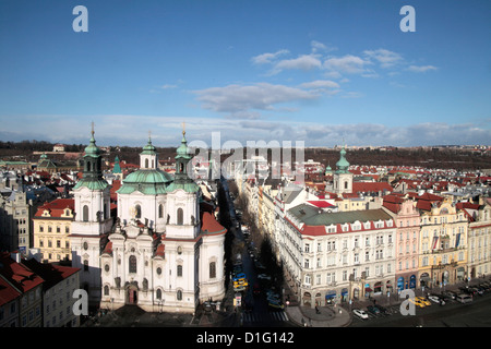 St. Nicholas Church from Town Hall Tower, Prague, Czech  Republic, Europe - Stock Photo