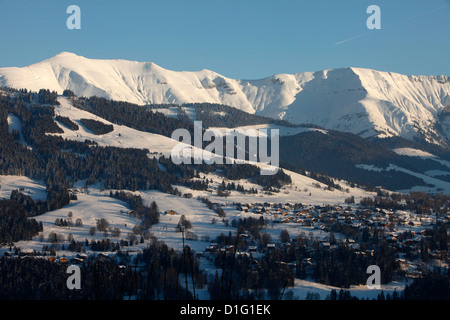 Mont Blanc mountain range, Mont d'Arbois in Megeve, Haute-Savoie, French Alps, France, Europe - Stock Photo