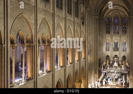 Nave, Notre Dame Cathedral, Paris, France, Europe - Stock Photo
