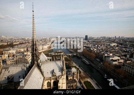 View from Notre Dame Cathedral roof, Paris, France, Europe - Stock Photo