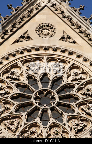 Rose window on South facade, Notre Dame Cathedral, Paris, France, Europe - Stock Photo
