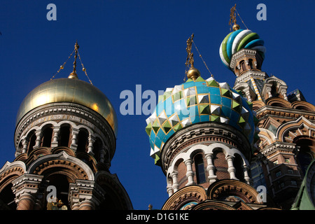 Onion domes, Church of the Saviour on Spilled Blood (Church of Resurrection), St. Petersburg, Russia, Europe - Stock Photo