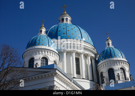 Blue cupolas emblazoned with golden stars, Trinity Cathedral, St. Petersburg, Russia, Europe - Stock Photo