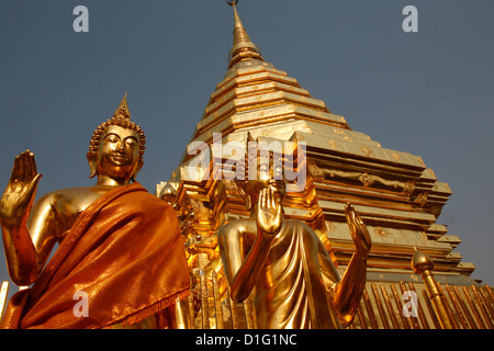 Statues and chedi in Doi Suthep temple, Chiang Mai, Thailand, Southeast Asia, Asia - Stock Photo