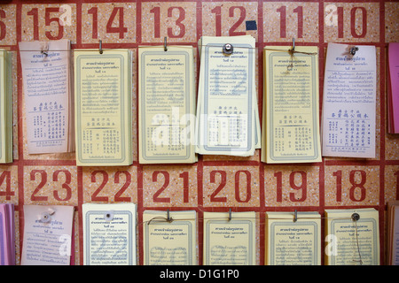 Fortune telling sheets, Pak Chonk, Thailand, Southeast Asia, Asia - Stock Photo