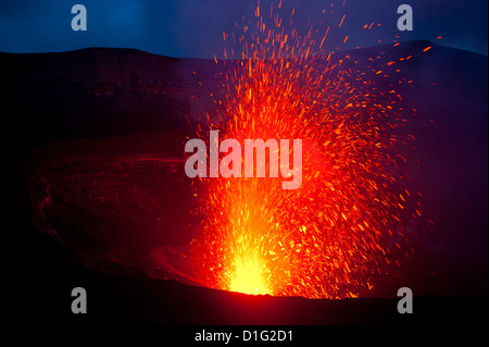 Volcano eruptions at the Volcano Yasur, Island of Tanna, Vanuatu, South Pacific, Pacific - Stock Photo