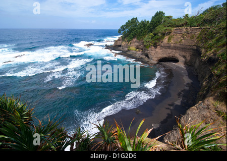 View over Shark Bay below Volcano Yasur, Island of Tanna, Vanuatu, South Pacific, Pacific - Stock Photo