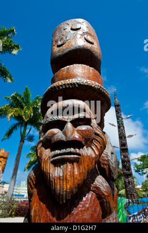 Traditional wood carving in Noumea, New Caledonia, Melanesia, South Pacific, Pacific - Stock Photo