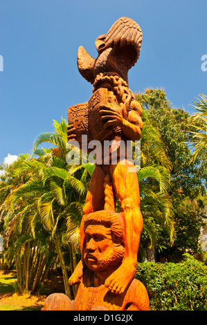 Wooden statues in the sculpture garden of La Foa, West coast of Grand Terre, New Caledonia, Melanesia, South Pacific, - Stock Photo