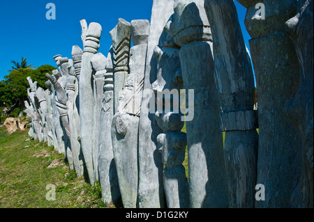 Traditional wood carving at the Ile des Pins, New Caledonia, Melanesia, South Pacific, Pacific - Stock Photo
