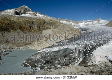 Rhonegletscher Rhone glacier in the Swiss Alps - Stock Photo