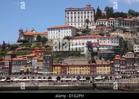 Buildings overlook the River Douro on the Ribeira District, UNESCO World Heritage Site, Porto, Douro, Portugal, - Stock Photo