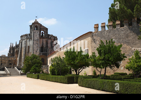 Gardens and exterior of the Convent of Christ (Convento de Cristo), Tomar, Ribatejo, Portugal, Europe - Stock Photo