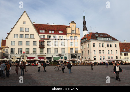 Daily life and buildings on Town Hall Square (Raekoja Plats), UNESCO World Heritage Site, Tallinn, Estonia, Europe - Stock Photo