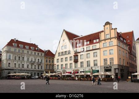 Buildings on Town Hall Square (Raekoja Plats), UNESCO World Heritage Site, Tallinn, Estonia, Europe - Stock Photo