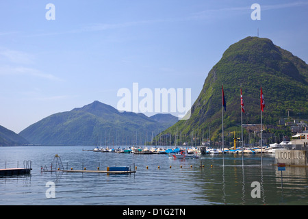 View of Monte San Salvador from the Lido, Lugano, Lake Lugano, Ticino, Switzerland, Europe - Stock Photo
