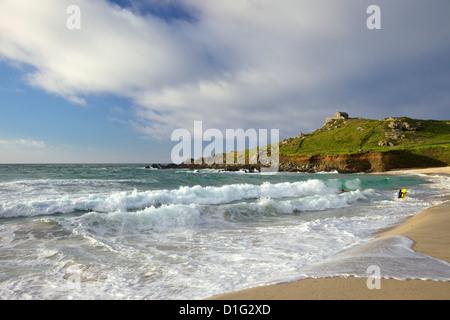 Summer evening sunshine on Porthmeor beach, St Ives, Cornwall, England, United Kingdom, Europe - Stock Photo