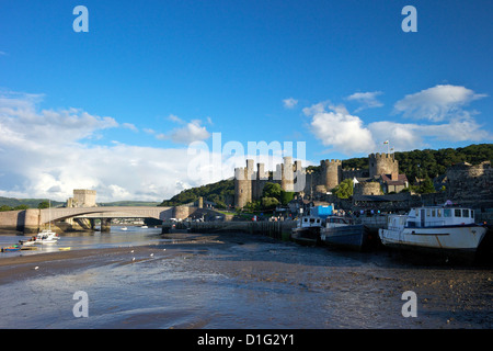 River Conwy estuary and medieval castle in summer, UNESCO World Heritage Site, Gwynedd, North Wales, United Kingdom, - Stock Photo