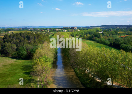 Argens Minervois village, Navigation on the Canal du Midi, Aude, Languedoc Roussillon, France, Europe - Stock Photo