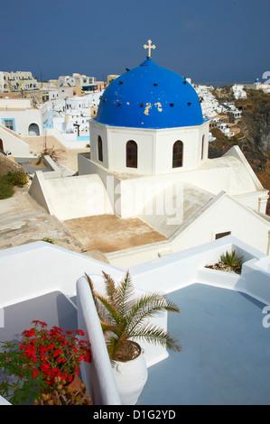 Church with blue dome, Fira, Thira, Santorini, Cyclades, Greek Islands, Greece, Europe - Stock Photo