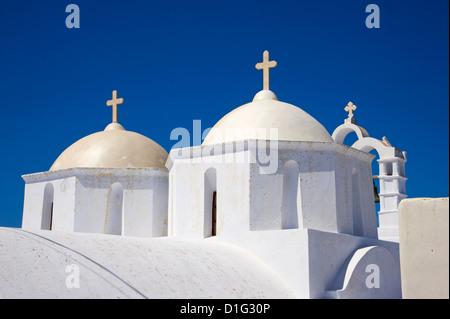 Church, Chora, Amorgos, Cyclades, Aegean, Greek Islands, Greece, Europe - Stock Photo